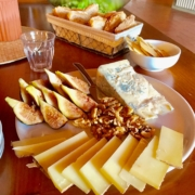Yoga in Italy Cheese board with fresh pecorino, gorgonzola, sun-ripened figs and walnuts